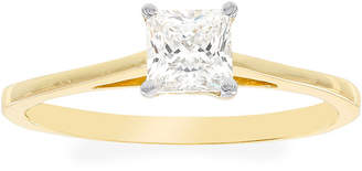 FINE JEWELRY Diamonart 10K Yellow Gold Cubic Zirconia .85 C.T. T.W.. Princess Solitaire Ring