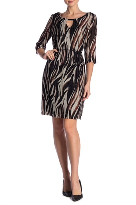 Connected Apparel Animal Print Front Keyhole Waist Belt Dress