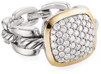David Yurman Wellesley Link Diamond & 18k Gold Ring, Size 9
