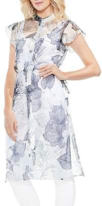 Vince Camuto Flutter Sleeve Floral Shirt Dress