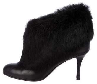 Oscar de la Renta Leather Fur-Trimmed Ankle Booties