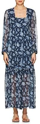 Raquel Allegra Women's Floral Silk Tiered Maxi Dress - Navy