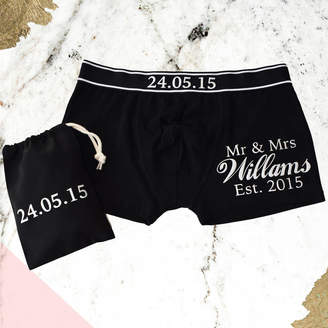Weasel and Stoat Personalised, Our Date, Wedding Anniversary Mens Pants