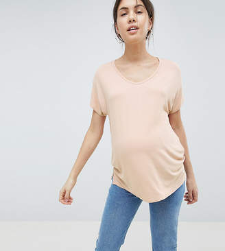 Asos DESIGN Maternity t-shirt with drapey batwing sleeve in pink