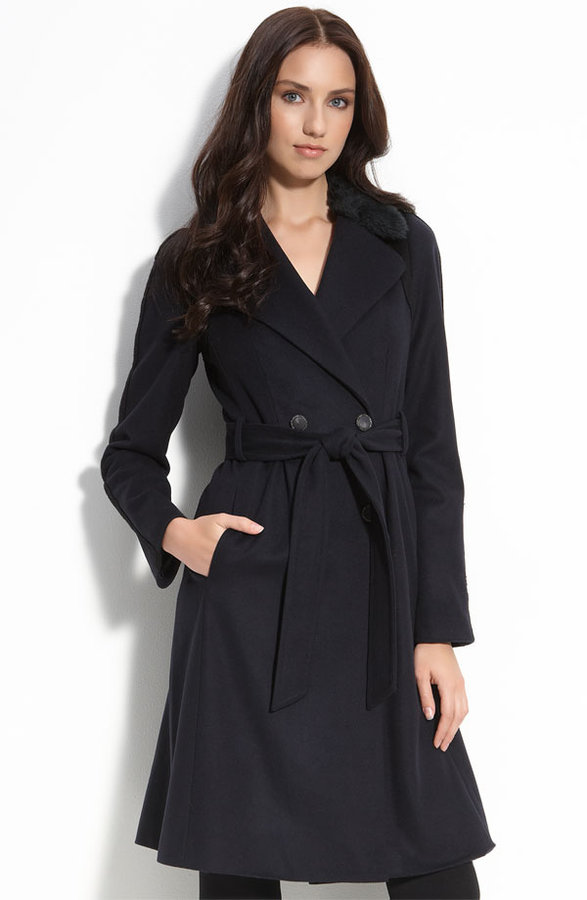 Rebecca Taylor Belted Coat with Faux Fur Collar