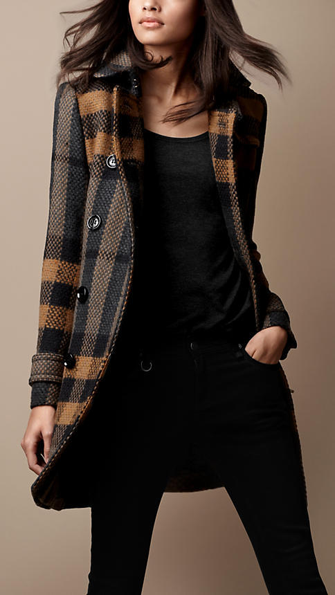 Burberry Mid-Length Woven Check Wool Trench Coat