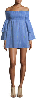 Red Carter Off-the-Shoulder Bell-Sleeve Chambray Mini Dress