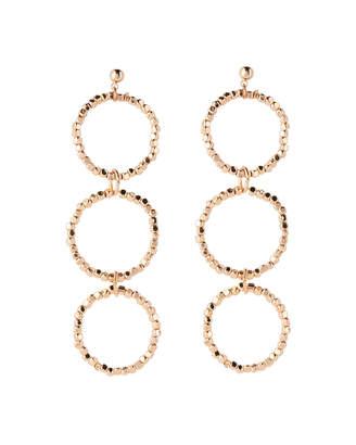 Panacea Pannee By Gold-Tone Three-Circle Linear Earrings