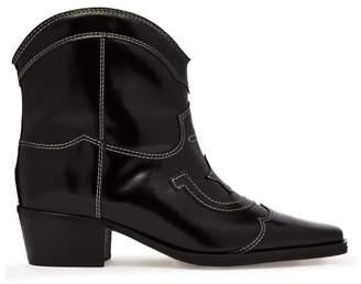 Ganni Meg Leather Cowboy Boots - Womens - Black