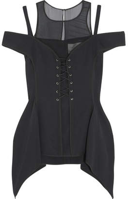 Jason Wu - Lace-up Silk Chiffon-paneled Stretch-crepe Top - Black $1,295 thestylecure.com