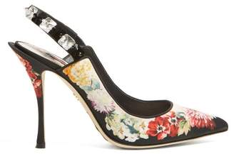 Dolce & Gabbana Floral Print Crystal Embellished Pumps - Womens - Black Multi
