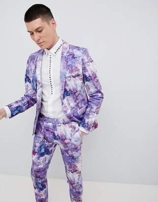 Noose & Monkey Wedding Super Skinny Suit Jacket In Print