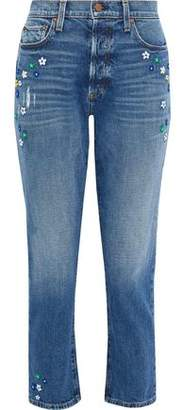 Alice + Olivia Ao.la By Embroidered Distressed High-Rise Slim-Leg Jeans