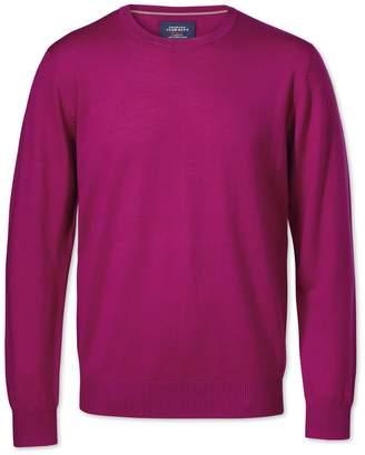 Charles Tyrwhitt Fuchsia Merino Crew Neck Wool Sweater Size Large