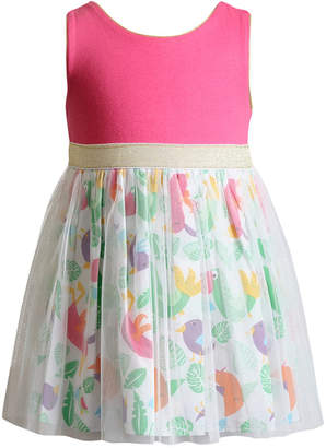 Sweet Heart Rose Glitter-Mesh Bird-Print Dress, Little Girls