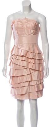 Carmen Marc Valvo Silk Strapless Dress Pink Silk Strapless Dress
