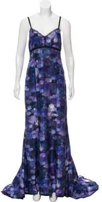 Rochas Printed Maxi Dress Purple Printed Maxi Dress