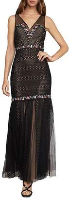 BCBGMAXAZRIA Embroidered Lace & Tulle Gown