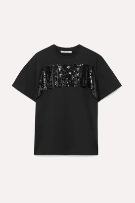 Christopher Kane Sequined Tulle-trimmed Cotton-jersey T-shirt - Black