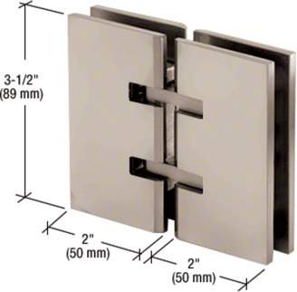 CR Laurence CRL Satin Nickel Concord 180 Series 180 Degree Glass-to-Glass Hinge