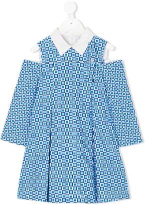 Versace cold shoulder geometric print dress
