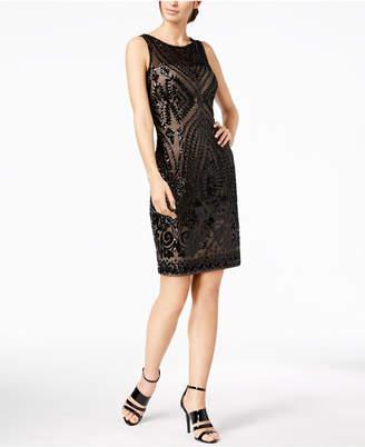 Calvin Klein Sequined Sheer Illusion Sheath Dress