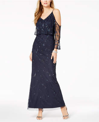 Adrianna Papell Beaded Cold-Shoulder Popover Gown