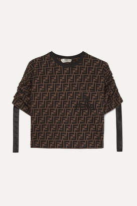 Fendi Cropped Printed Cotton-jersey T-shirt - Brown