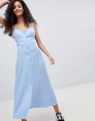 Bershka cut out button detail midi dress in blue