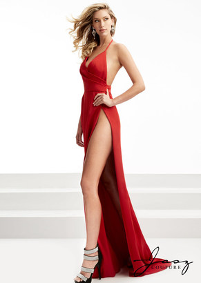 Jasz Couture - Halter Long Gown with Slit 5959 $258 thestylecure.com