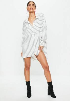 Missguided White Stripe Oversized Shirt Dress