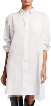 Sacai Pleated-Side Long Button-Front Shirtdress