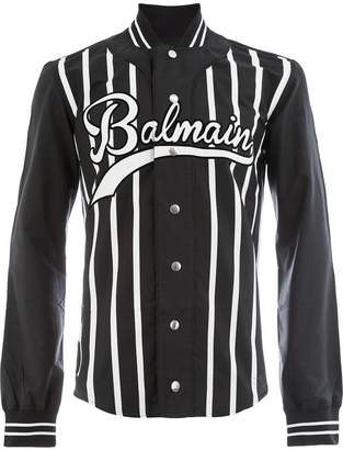 Balmain striped logo shirt