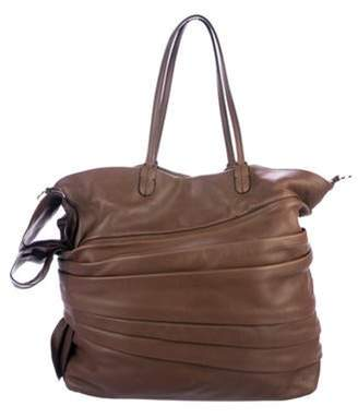 Valentino Pleated Leather Tote brown Pleated Leather Tote