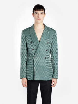 Haider Ackermann MEN'S GREEN PATTERNED DOUBLE BREASTED BLAZER
