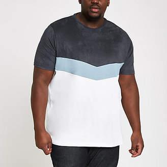 River Island Big and Tall white chevron blocked T-shirt