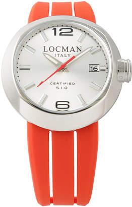 Locman (ロックマン) - LOCMAN ラウンドウォッチ デイト表示 取替ベルト付 ケース:グレー ベルト:レッド、ホワイト、ブラック