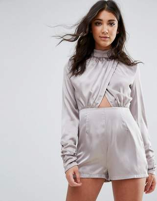 Missguided Gray High Neck Wrap Satin Romper