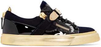 Giuseppe Zanotti Navy Velvet London Sneakers $765 thestylecure.com