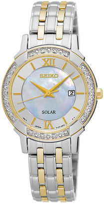 Seiko Womens Crystal-Accent Two-Tone Mother-of-Pearl Solar Bracelet Watch SUT278 $450 thestylecure.com