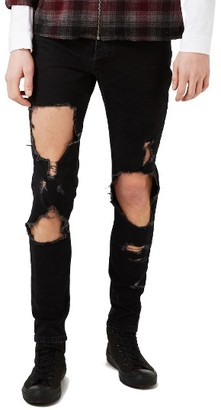 Men's Topman Extreme Ripped Stretch Skinny Fit Jeans $85 thestylecure.com