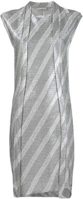 Paco Rabanne metallic stripe fitted dress