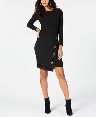 Thalia Sodi Studded Faux-Wrap Dress