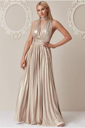 Goddiva Stephanie Pratt Gold Deep V-Neck Metallic Maxi Dress