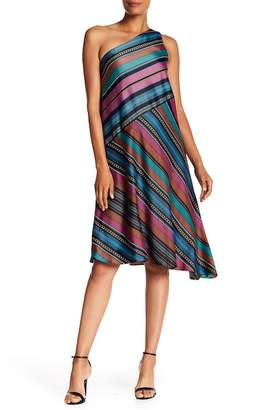 Maggy London One-Shoulder Stripe Dress