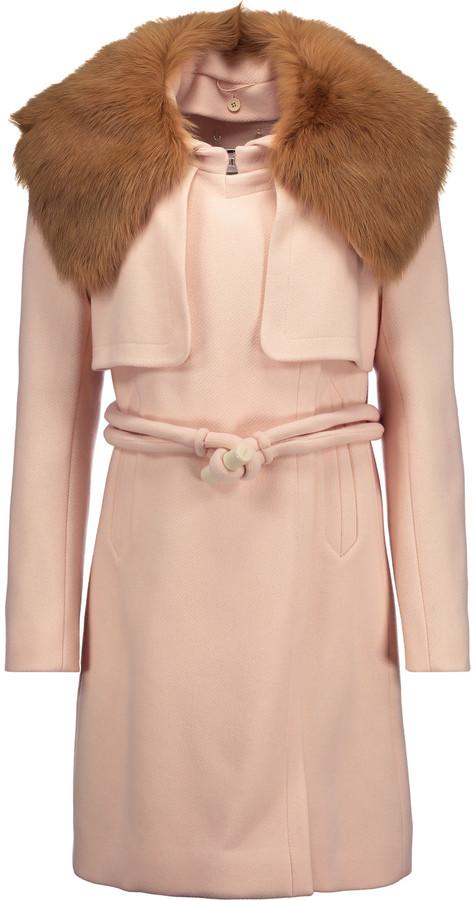 Chloé Chloé Shearling-trimmed wool-blend coat