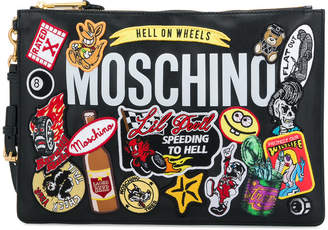Moschino appliqué detail clutch bag