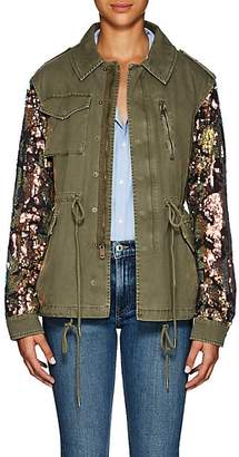 Barneys New York Women's Sequined-Sleeve Cotton Twill Military Jacket - Olive