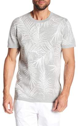 Kenneth Cole New York Palm Jaquard Short Sleeve Sweater
