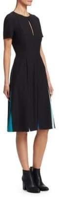 Carolina Herrera Short Sleeve Pleated Cocktail Dress